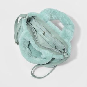 T-Shirt & Jeans Bags - Soft Plush Fluffy Tote Crossbody Bag Mint
